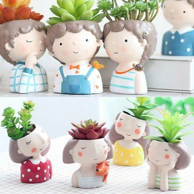 Cute Lover Boy Girl Flower Planter Flowerpot Succulent Plant Pot Home Garden Dec
