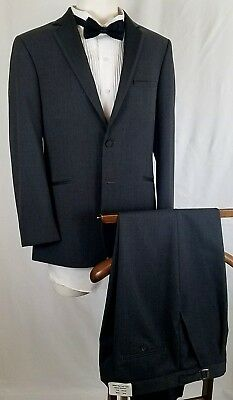 "JEAN YVES ""Twilight"" Men's Tux Gray 2 Btn 40R Front Pleated 30/32R - HC01325320"