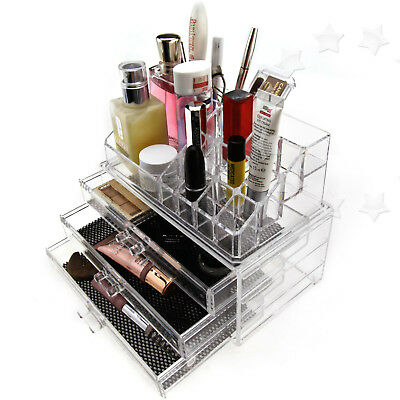 Jewelry Grids Display Storage Box Make Up Cosmetics 3 Drawers Clear Type A