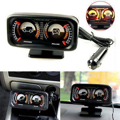 LED Car Dashboard Inclinometer Angle Slope Level Pitching Rolling Meter Gauge
