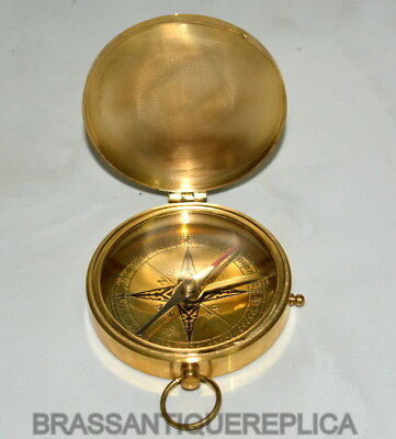 MARITIME Vintage Antique Style  Brass Heavy Maritime Navigational Compass