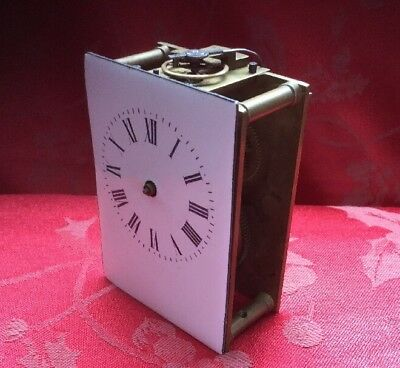 French Carriage Clock Movement For Spares Repair Balance Escaping Ok Good Dial