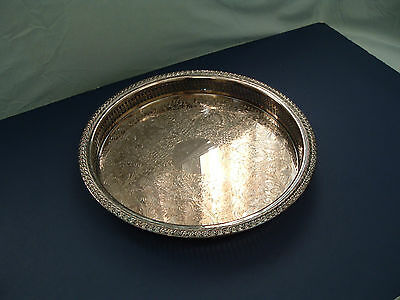 vintage international silver co. round serving drink high side tray shabby chic