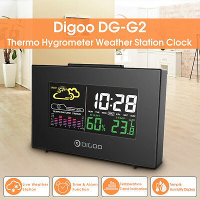 Digoo Hygrometer Thermometer Wireless Colorful Weather Station Week Alarm Clock