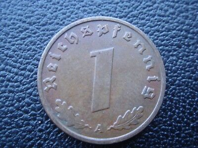Rare Old WWII Antique Germany 1938 A 3rd Reich SS Nazi Eagle 1 pfenning Coin H31
