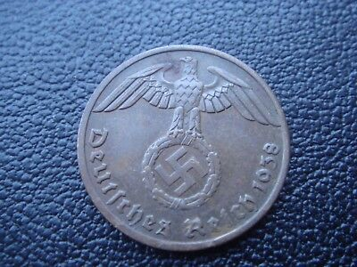 Rare Old WWII Antique Germany 1938 A 3rd Reich SS Nazi Eagle 1 pfenning Coin H34