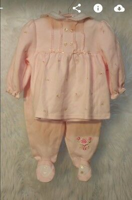NEW First Moments Layette Infant Girls 0-3 Months Pink 3 Piece Set