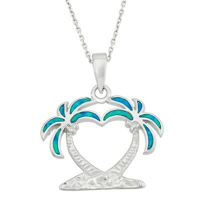 Pink Opal Beach Palm Tree Pendant Necklace 12999