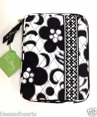 Vera Bradley Ipad E-Reader Zip Cover Sleeve Black White Quilted Cotton Gift New