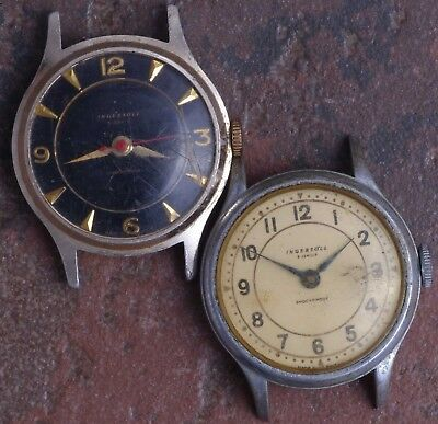 Lot of 2 Ingersoll British 50s Vintage Art Deco Military Style 5j Parts/Restore