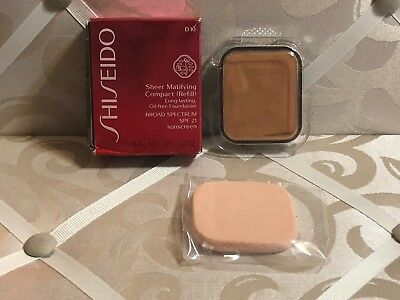 Shiseido ~ Sheer Matifying Compact Refill ~ Golden Brown D10 ~ .34 Oz. Boxed