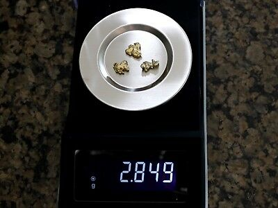 Alaskan Gold Nuggets 2.849 grams Nice Pickers Lot of 3 No Reserve Free Shipping!