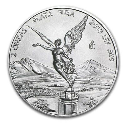 2018 Mexico Libertad 2 oz .999 Silver Round Very Limited Bullion BU Coin