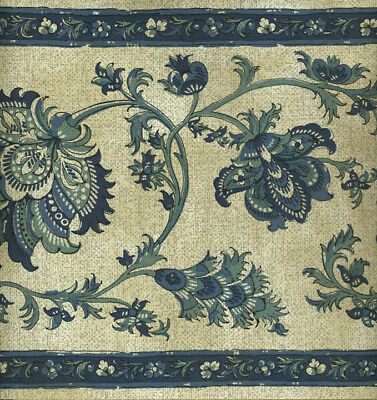 Victorian Jacobean Floral Blue And Taupe Wallpaper Border