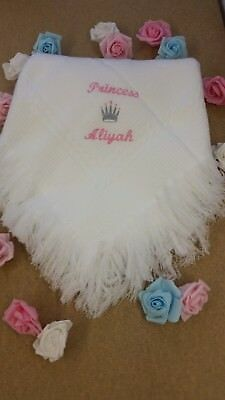 Babys shawl plain or personalised   christening birth  prince/ess +name gift
