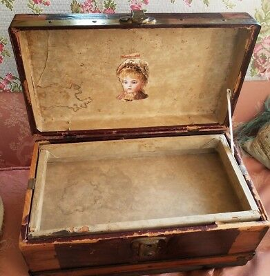 Antique Doll Trunk Wood With Lift Out Tray
