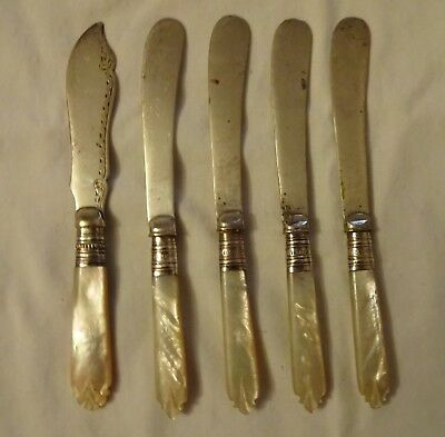 5 x Antique Silver plated EPNS Butter Knives With Mother Of Pearl Handles