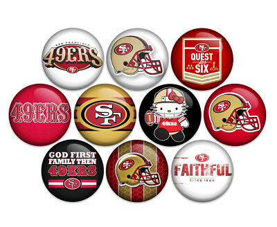 "S.F. 49'ers Football NFL 1"" Pin Back Buttons Badges Pins (Pack of 10)"