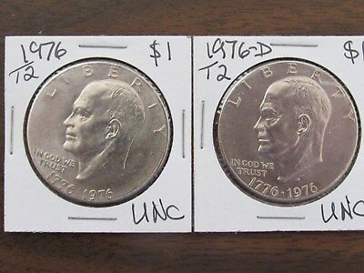 1976-P&D $1 Type 2 Eisenhower Dollars in Brilliant Uncirculated condition