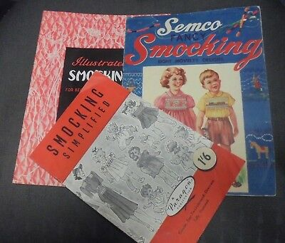 Semco Paragon Smocking Books Embroidery Stitches Illustrated Vintage 3 booklets