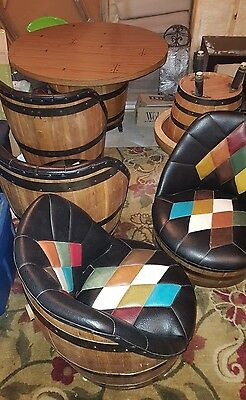 Mid century Brothers Whiskey Barrel dinette set & coffee table set. 8 piece set