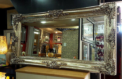 X Large Antique Champagne Silver Ornate French Leaner Wall Mirror 204x102cm New