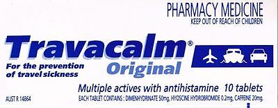 ==> One box 10 TABLETS OF TRAVACALM ORIGINAL FOR SEA&TRAVEL SICKNESS