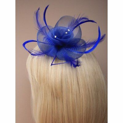 Royal Blue Net Flower Feather & Fascinator hair clip diamante crystal details