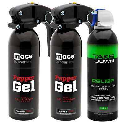 (3 Canister Bundle) Mace Brand Police Strength Less-Than-Lethal Pepper Gel Spray