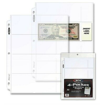 4 Pockets Clear 20 Pages Modern Small Banknotes Stamps Collection Sheets BCW NEW