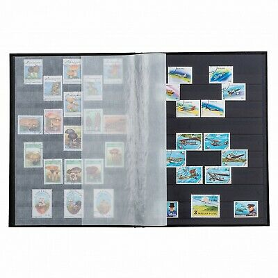 Stamp Collection Album 6.5x9 32 Black Pages A5 Black Stockbook By Lighthouse