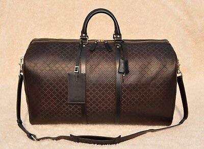 68f0710607be Gucci Diamante Leather Carry-On Duffel Bag, Brown, Large, MSRP $2,500
