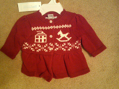 Nwt $38 Infant Girls American Living Cardigan Sweater Red W/ Rocking Horse 3 Mos