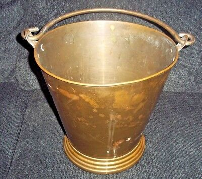 "Large Antique Brass Cauldron Bucket with Handle 10 1/2"" Tall  X 11"" Wide"