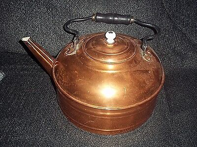 """Vintage Copper Coffee Tea/water Kettle Wood Handle Rare This Large 12"""" W X 6"""" Ta"""