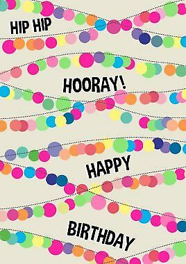 "Card - Neon: ""HIP HIP HOORAY! HAPPY BIRTHDAY"" lights"
