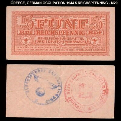 bucksless 2051:GREECE GERMANY OCCUPATION 5 PFENNIG 1944 W/ 2 STAMPS ON BACK, M20