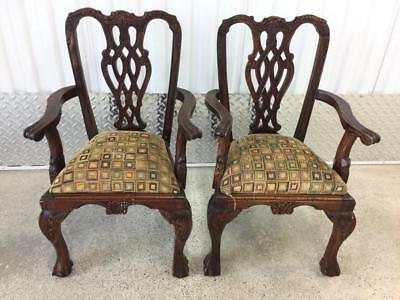 A Pair Of Mahogany Childs Dolls Wood Carved Arm Chairs In The Chippendale Style