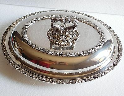 Vintage Silver-plated-on-copper Entree Dish with Lid