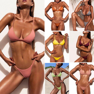 Sexy Swimwear Women Triangle Bikini Suit Bandage Push-Up Swimsuit Bra Bottom