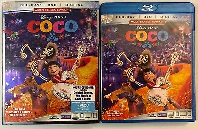 Disney Pixar Coco Blu Ray Dvd 3 Disc Set + Slipcover Sleeve Free World Shipping