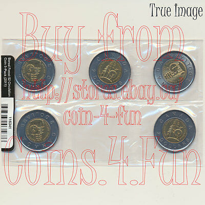 2011 - Boreal Forest - $2 Two Dollars Toonie Circulation 5-Coin Pack