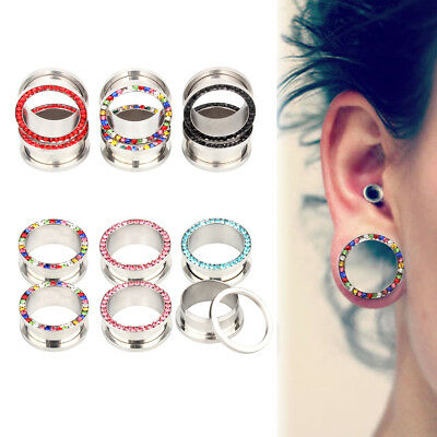 2 Piece Colourful Tunnel Or as Set Stainless Steel 2er Flesh Black Silver Rosé