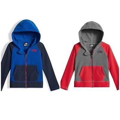 The North Face Toddler Boys Glacier Full Zip Hoodie Fleece Jacket New Blue Red