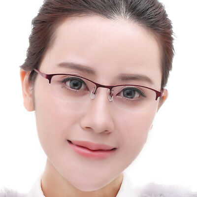 Women Half Rimless Eyeglass Frame Metal&TR90 Optical Glasses RX able Spectacles