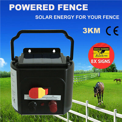 Solar Electric 3KM Fence Energiser Energizer Power Charger 0.1J Farm Pet Animal