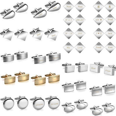 2pcs Silver Cufflink Stainless Steel Wedding Gift Mens Square Round Cuff Links