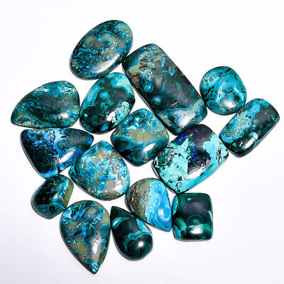 461Cts 15 Pieces Lot Azurite Chrysocolla Cabochons Loose Gemstone Z-6315