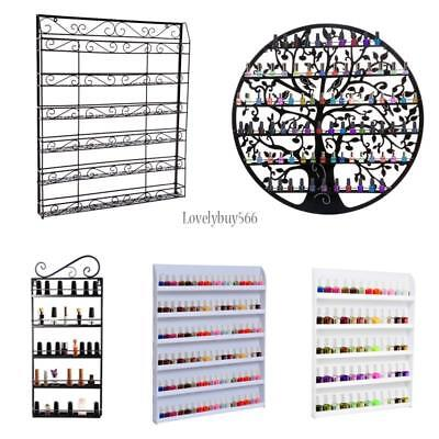 Nail Polish Shelf Holder Wall Mount Stand Organizer Acrylic Metal LB6Y 01