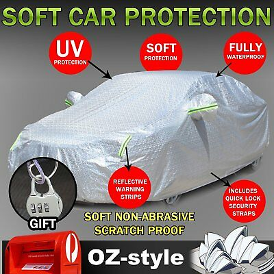 8 Layer Aluminum Car Cover Water Snow Wind UV Dust Resistant Protector Universal